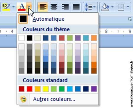 Le choix de la couleur du texte sous Word 2007 - MOSAIQUE Informatique - Nancy