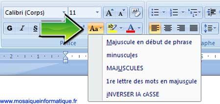 Le bouton Modifier la casse sous Word 2007 - MOSAIQUE Informatique - Nancy