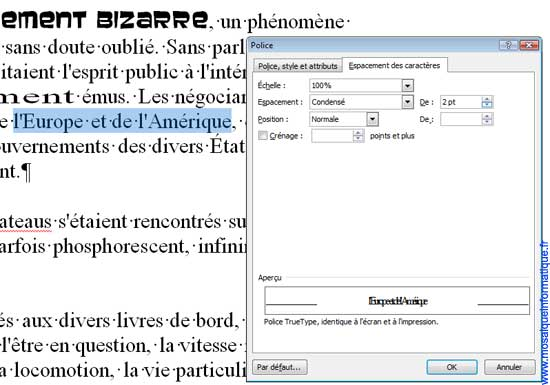 La modification du paramètre Espacement sous Word 2007 - MOSAIQUE Informatique - Nancy - www.mosaiqueinformatique.fr