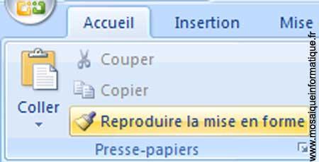 Le bouton Reproduire la mise en forme sous Word 2007 - MOSAIQUE Informatique - Nancy - www.mosaiqueinformatique.fr