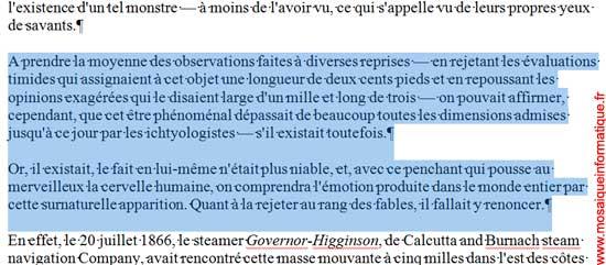 Deux paragraphes sont sélectionnés sous Word 2007 - MOSAIQUE Informatique - Nancy - www.mosaiqueinformatique.fr