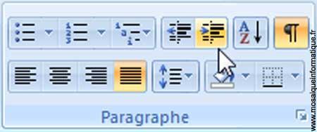 Le bouton Augmenter le retrait sous Word 2007 - MOSAIQUE Informatique - Nancy - www.mosaiqueinformatique.fr