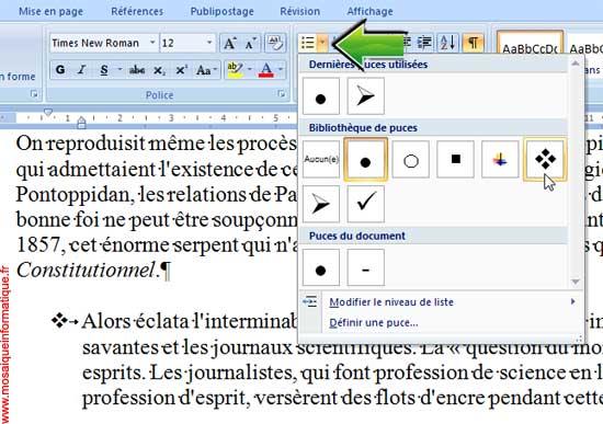 Le choix d'un type de puce sous Word 2007 - MOSAIQUE Informatique - Nancy - www.mosaiqueinformatique.fr