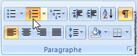 Le bouton Numérotation sous Word 2007 - MOSAIQUE Informatique - Nancy - www.mosaiqueinformatique.fr