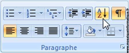 Le bouton Trier sous Word 2007 - MOSAIQUE Informatique - Nancy - www.mosaiqueinformatique.fr