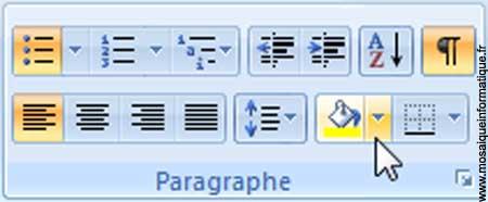 Le bouton Trame de fond sous Word 2007 - MOSAIQUE Informatique - Nancy - www.mosaiqueinformatique.fr