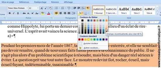 Le choix d'une Trame de fond sous Word 2007 - MOSAIQUE Informatique - Nancy - www.mosaiqueinformatique.fr