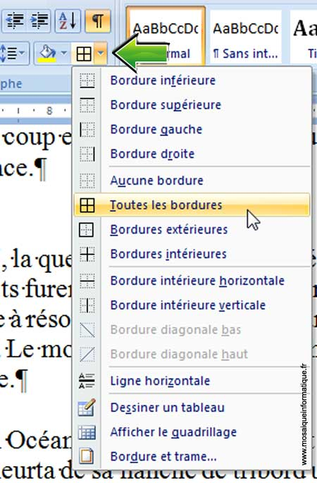 Le choix d'un type de bordure sous Word 2007 - MOSAIQUE Informatique - Nancy - www.mosaiqueinformatique.fr
