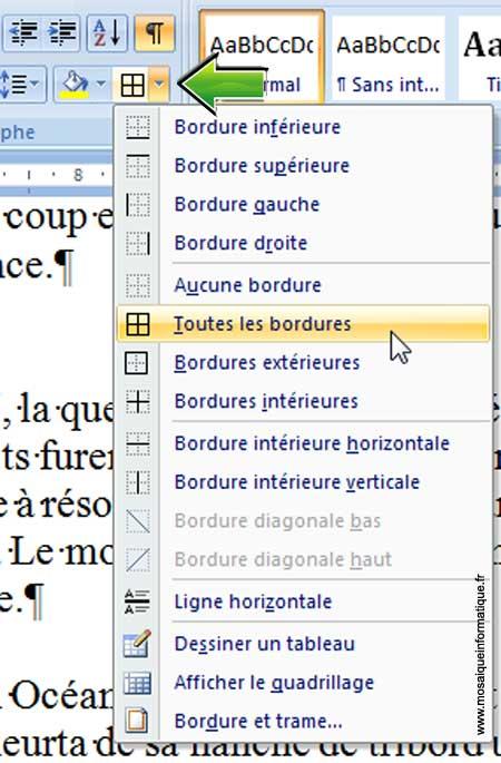 Le choix d'un type de bordure sous Word 2007 - MOSAIQUE Informatique - Nancy - www.mosaiqueinformatique.fr