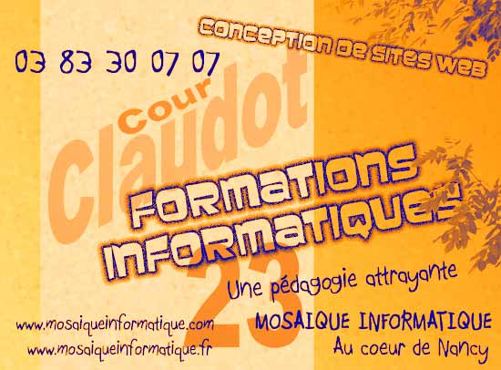 Votre formation informatique à Nancy (54, Meurthe et Moselle, Lorraine) :  création et administration de votre site web, bureautique (Word, Excel, Access, Powerpoint, Publisher, OpenOffice, ...), infographie (Photoshop, Illustrator, Indesign, Xpress, Gimp, ...), photo numérique, vidéo, ...